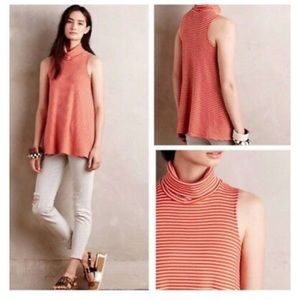 Anthro Puella Striped Turtleneck Tank Top